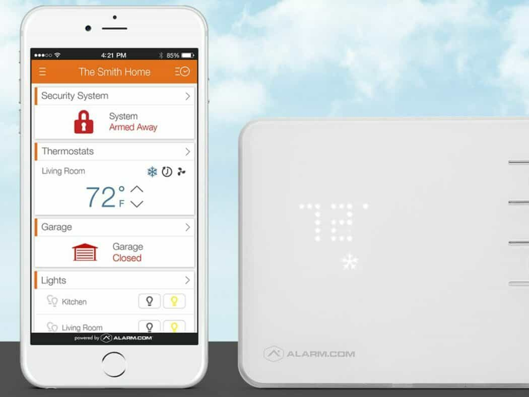 alarm.com smart home app with the smart thermostat