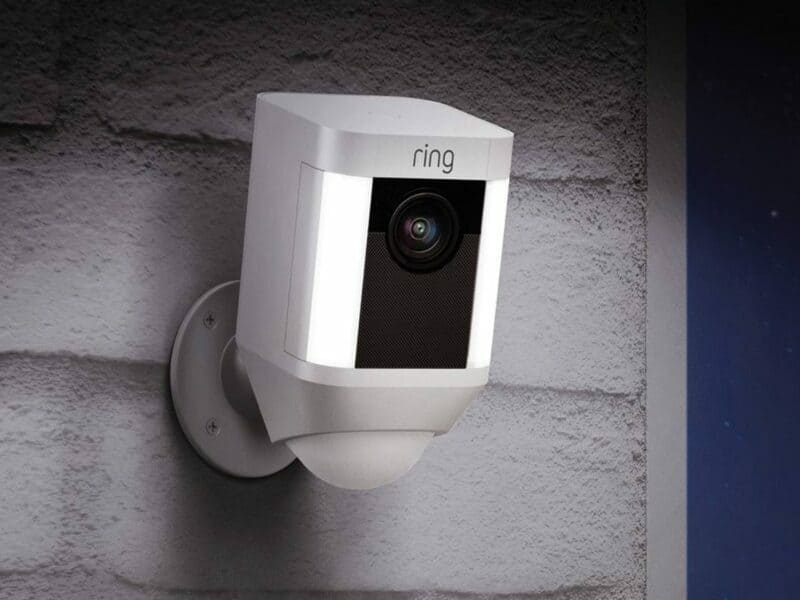 close up of ring camera on outside of home