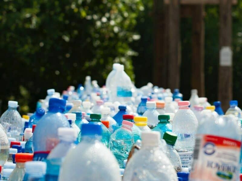 large amount of plastic bottles stacked up