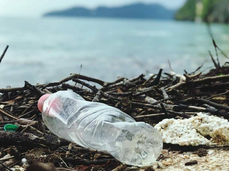 plastic bottle on the ground in front of lake