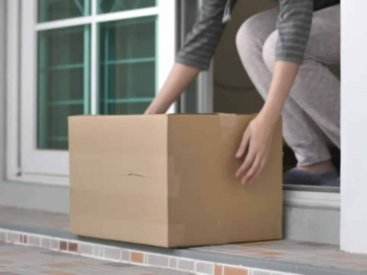 picking up packages outside of front door