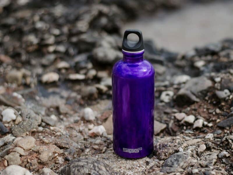 purple water bottle travel
