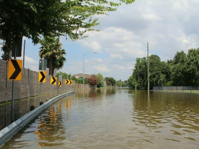 flooded street from hurricane harvey