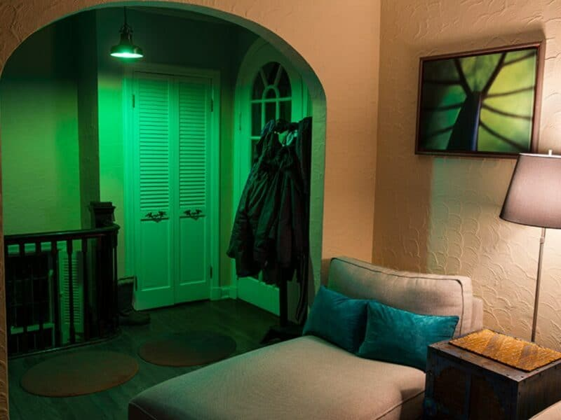 green lights in front entry way of home
