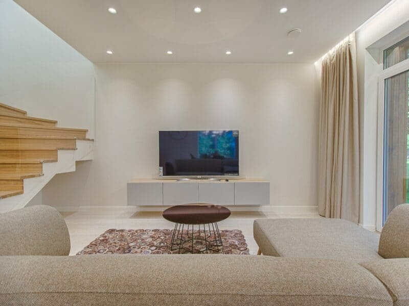 modern living room with bright lights
