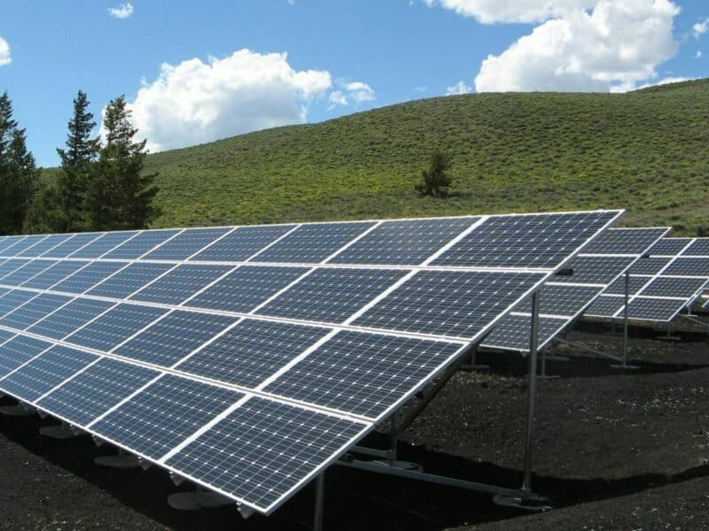 rows of tilted solar panels in a field