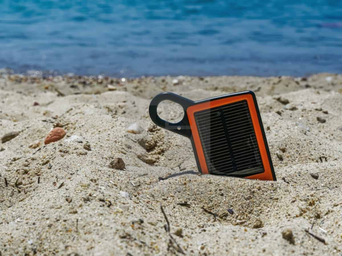 solar power bank in the sand