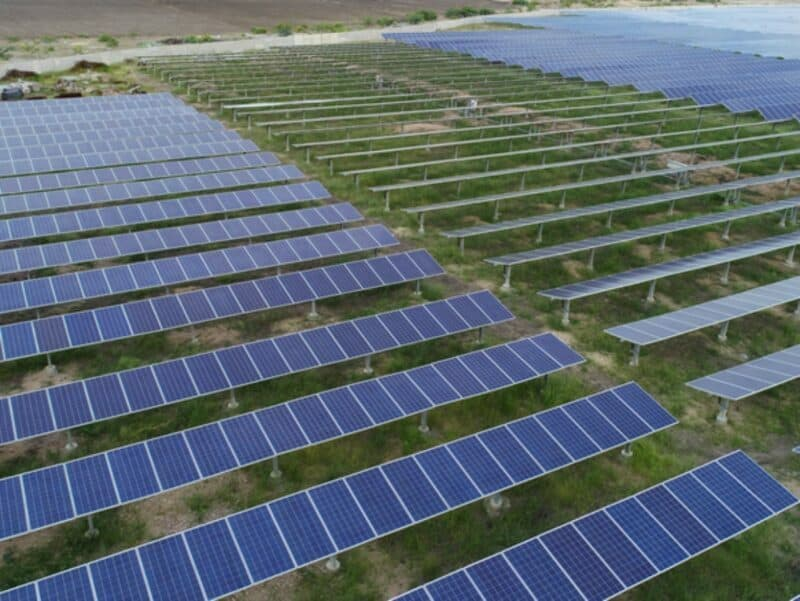 aerial view of a solar power plant with three rows