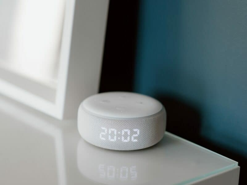 an alexa showing the time of day, to be used as an alarm clock