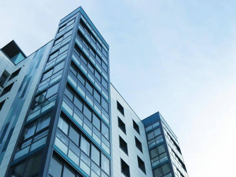 upward shot at an apartment building