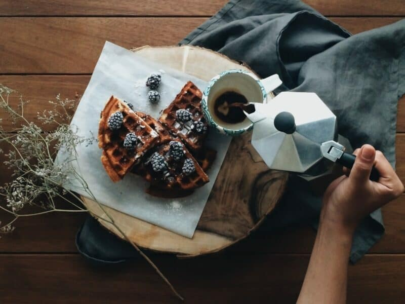 breakfast at home, coffee and waffles