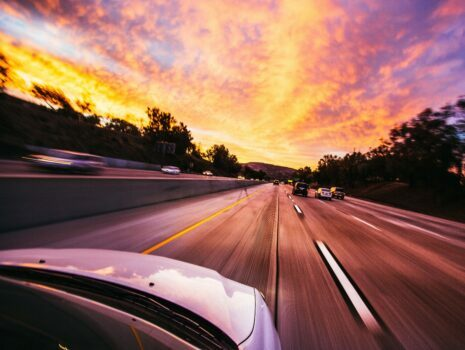 sunset ahead while driving
