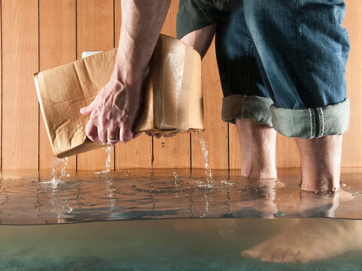 hands picking up a wet cardboard box due a flooded basement without water sensors