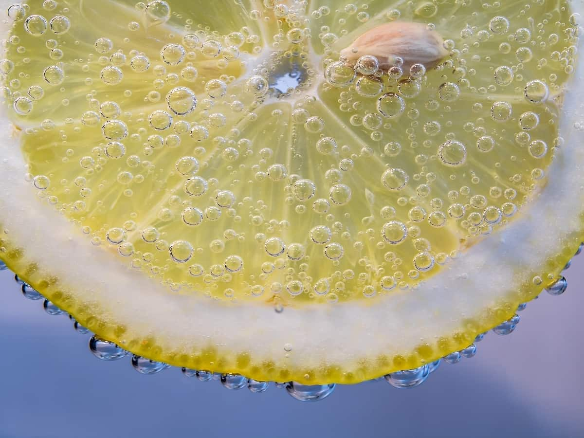 up close view of a lemon in water
