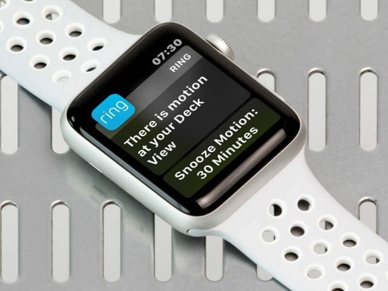 ring home security notification displayed on apple watch