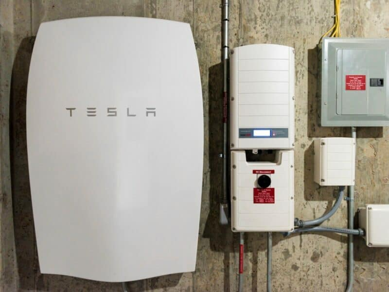 Tesla Energy's home battery, Powerwall, is seen newly installed in a home