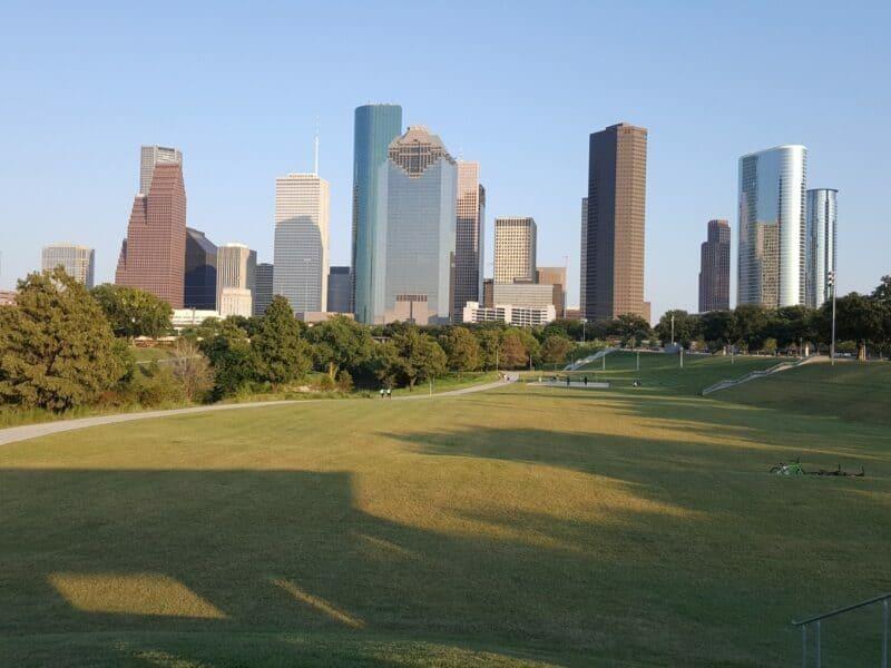 houston texas skyline from a park