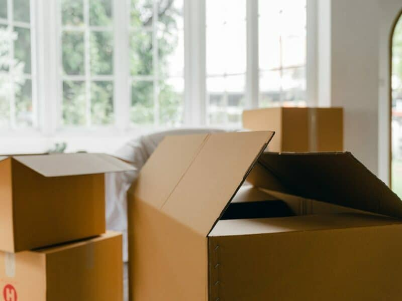 three moving boxes in a new home