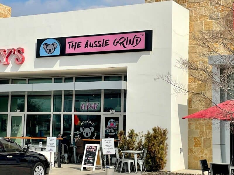 exterior of the aussie grind, a woman owned dallas small businesses in Frisco, Texas