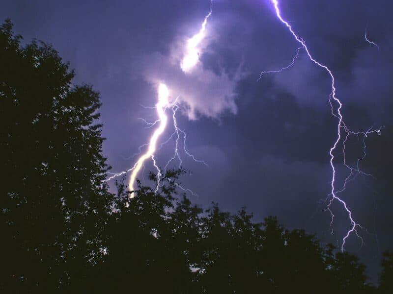 a lightning strike during a thunder storm
