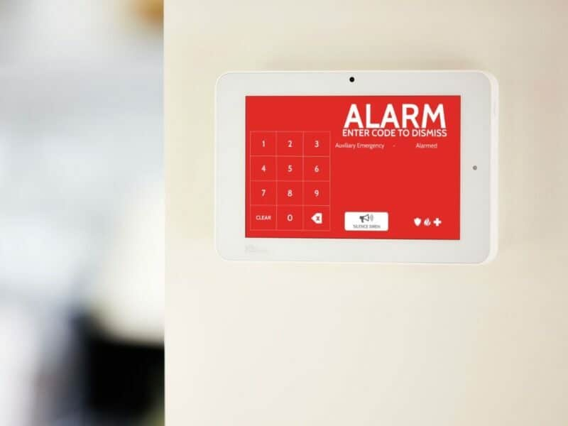 the qolsys iq panel 2 with an alarm feature on to detect when there is a break in