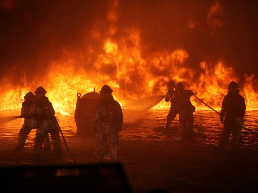 firefighters entering a wildfire to try to control the flames