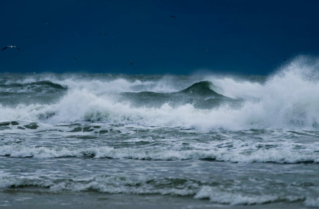 Rough ocean waves during a storm.
